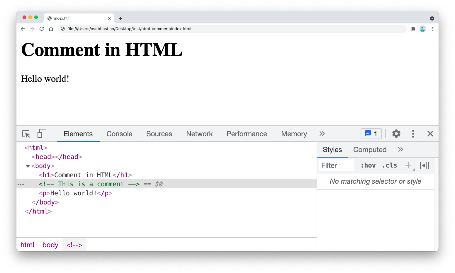 How to write comments inside HTML documents
